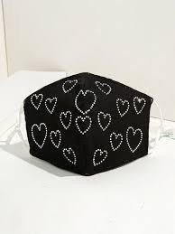 shein black heart face mask - Google Search