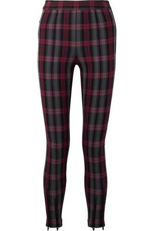 T by Alexander Wang | Zip-embellished plaid cotton-blend twill skinny pants | NET-A-PORTER.COM