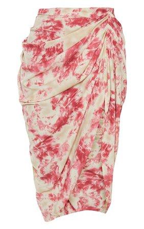 Fuschia Tie Dye Ruched Side Midi Skirt | PrettyLittleThing USA