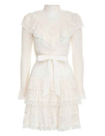 Glassy Frilled Lace Mini Dress Pearl Online | Zimmermann