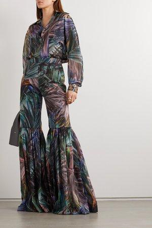 Green Pleated metallic printed chiffon flared pants | Halpern | NET-A-PORTER