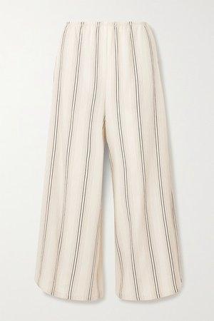 Cropped Striped Twill Wide-leg Pants - Ivory
