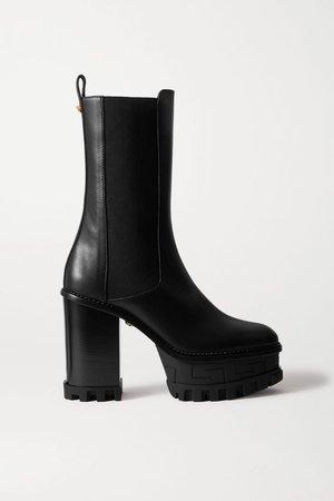 Black Embellished leather platform Chelsea boots | Versace