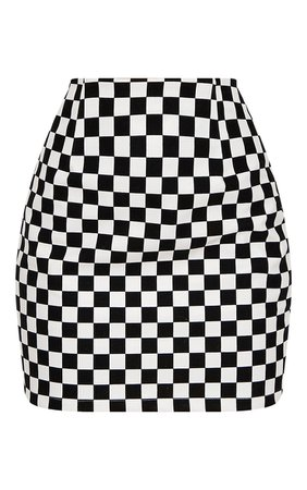 *clipped by @luci-her* Monochrome Faux Leather Checkerboard Mini Skirt