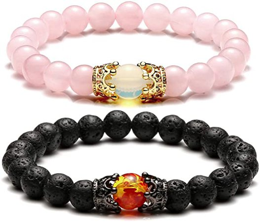Amazon.com: JOVIVI 2pcs Couple Bracelets for Men Women 8mm Rose Quartz Lava Rock Healing Energy Beads Stretch Crown King Charm Bracelet Adjustable: Clothing