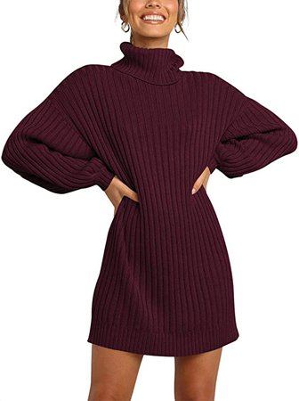 ANRABESS Women Turtleneck Long Lantern Sleeve Casual Loose Oversized Sweater Dress Soft Winter Pullover Dresses at Amazon Women's Clothing store