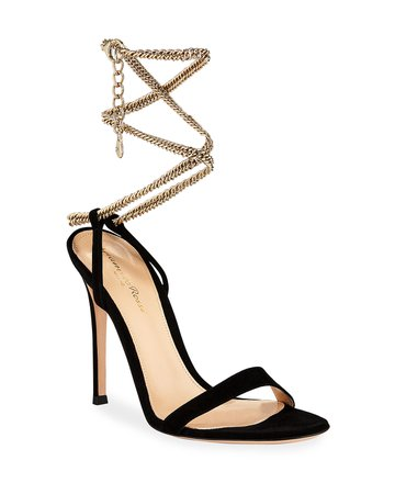 Gianvito Rossi Suede Sandals with Ankle Chain, Black | Neiman Marcus