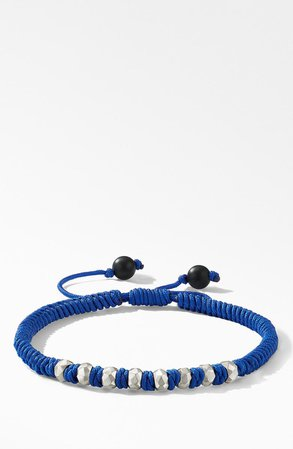 David Yurman Spiritual Beads Fortune Woven Bracelet with Black Onyx in Sterling Silver | Nordstrom