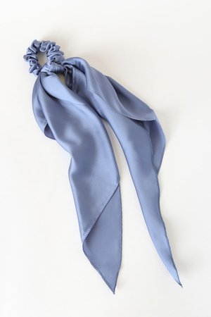 Black and Blue Ponytail Holder Set - Scrunchie Set - Scarf Set