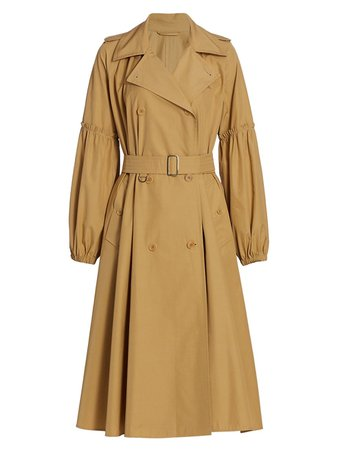 Max Mara Empoli Cotton Puff-Sleeve Trench Coat   SaksFifthAvenue