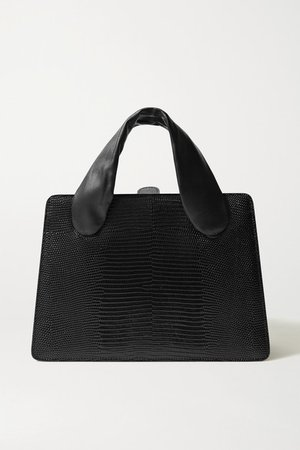 Lizard-effect And Smooth Leather Tote - Black