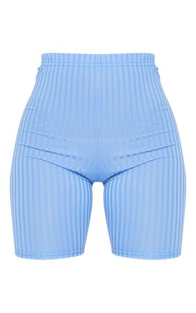 *clipped by @luci-her* Dusty Blue Rib Cycle Shorts | Shorts | PrettyLittleThing USA