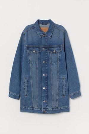 Long denim jacket - Denim blue - Ladies   H&M GB