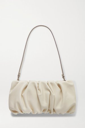 Bean Gathered Leather Shoulder Bag - Cream