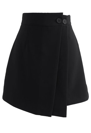 Double Flap Buttoned Mini Skirt in Black - Retro, Indie and Unique Fashion