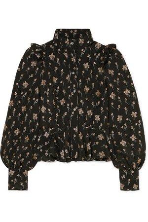 Anna Mason   Laila ruffled floral-jacquard blouse   NET-A-PORTER.COM