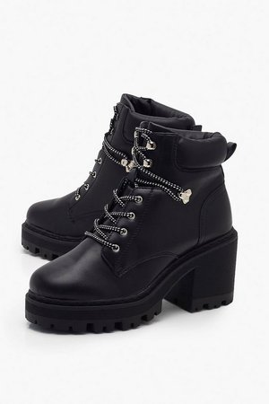 Wide Fit Chunky Lace Up Hiker Boots | boohoo