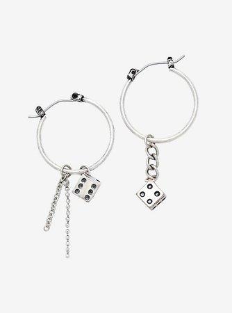 Dice Chain Mismatch Hoop Earrings