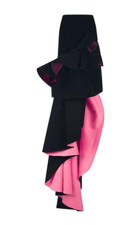 Black And Hot Pink Tiered Ruffle Evening Skirt by Antonio Berardi | Moda Operandi