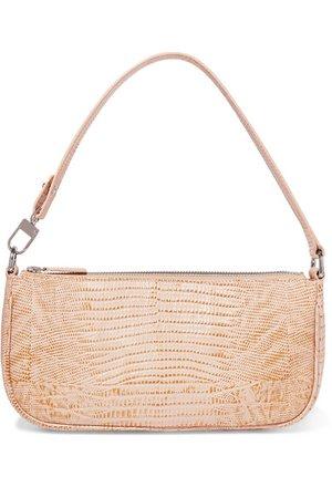 BY FAR | Rachel lizard-effect leather shoulder bag | NET-A-PORTER.COM