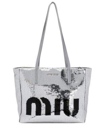 Miu Miu Logo Sequin Tote Bag - Farfetch