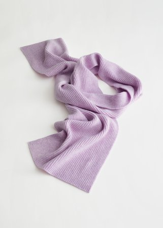 Cashmere Ribbed Knit Scarf - Lilac - Scarves - & Other Stories