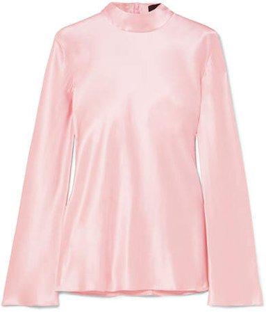Silk-satin Top - Pastel pink