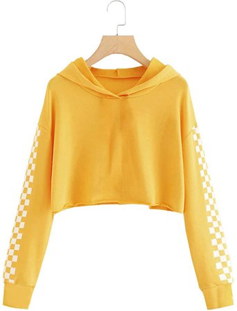 Amazon.com: Imily Bela Kids Crop Tops Girls Hoodies Cute Plaid Long Sleeve Fashion Sweatshirts Yellow: Clothing