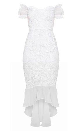 White Chiffon Sleeve Lace Frill Midi Dress   PrettyLittleThing