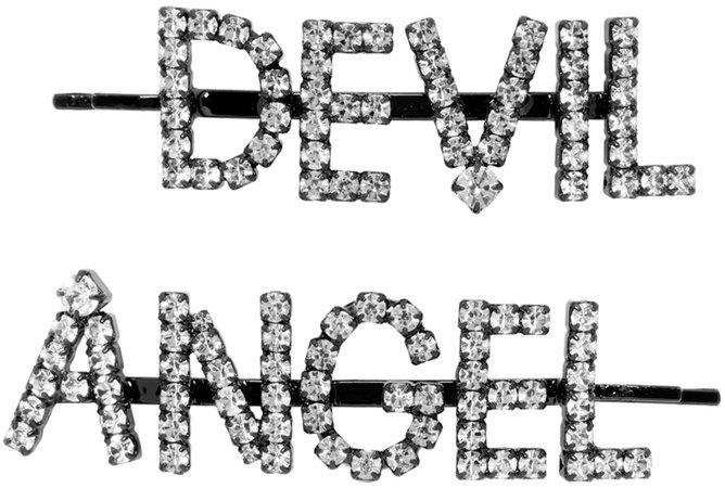 Ashley Williams: SSENSE Exclusive Black & Transparent 'Angel/Devil' Hair Clips | SSENSE