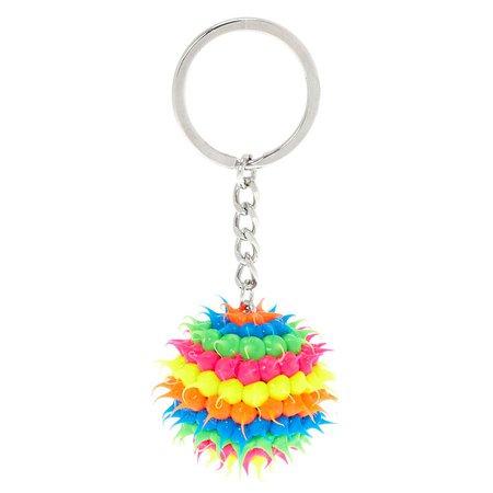Rainbow Rave Ball Keychain | Claire's US