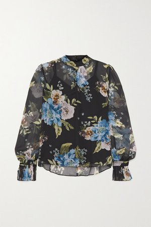 Barnaby Floral-print Silk-voile Blouse - Black