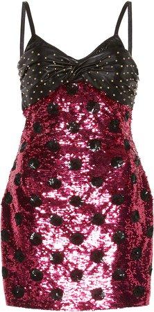 Stud Embellished Mini Dress