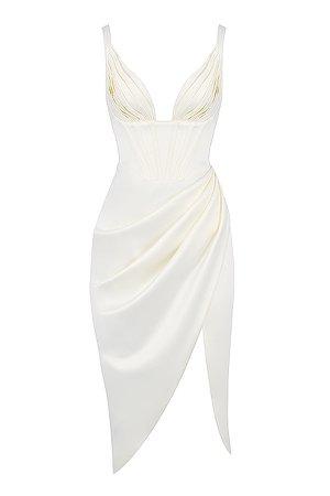 Clothing : Midi Dresses : 'Faye' Ivory Satin Corset Midi Dress