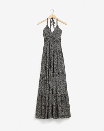 Dot Print Tiered Halter Maxi Dress