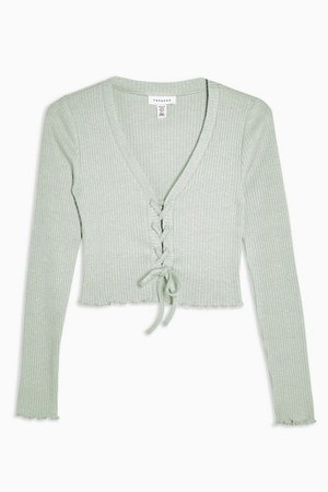 PETITE Mint Ribbed Lace Up Cardigan | Topshop