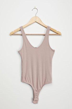 Taupe Bodysuit - Sleeveless Bodysuit - Ribbed Bodysuit