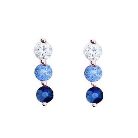 14kt gold graduated three diamond to blue sapphire stud – Luna Skye