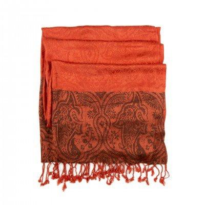 Pashmina Orange Handwoven Shawl   Mystic Self LLC
