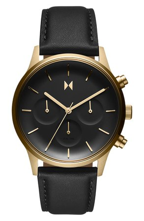 MVMT Duet Chronograph Leather Strap Watch, 38mm | Nordstrom