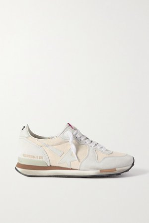 Suede And Canvas Sneakers - White