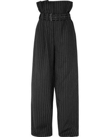 Lyst - Gareth Pugh Belted Pinstriped Wool-blend Wide-leg Pants in Black