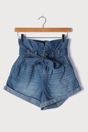 Blank NYC Dancing Queen - Medium Wash Short - Paperbag Shorts - Lulus