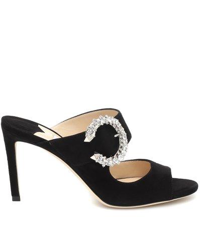Jimmy Choo, Saf 85 Crystal-Embellished Suede Sandals