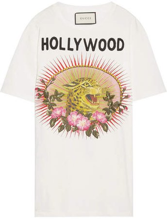 Appliquéd Printed Cotton-jersey T-shirt - White