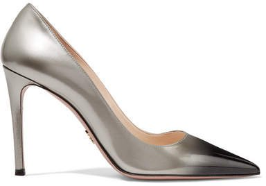 Ombré Patent-leather Pumps - Silver