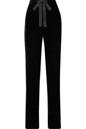 Naeem Khan | Grosgrain-trimmed velvet wide-leg pants | NET-A-PORTER.COM