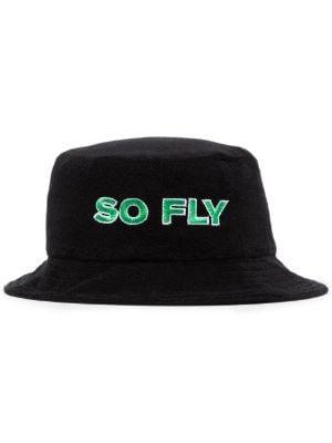 slogan-embroidered bucket hat - Farfetch