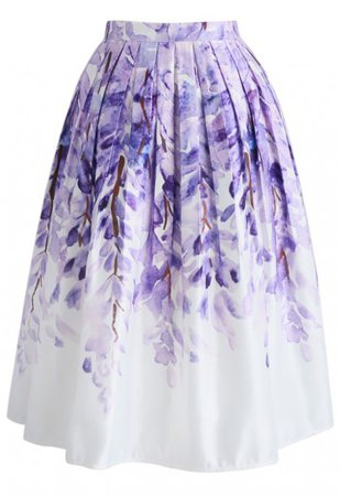 Divine Wisteria Printed Midi Skirt - Retro, Indie and Unique Fashion