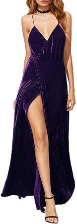 Amazon.com: Verdusa Women's V-Neck Backless Wrap Velvet Cocktai Party Dress Purple S : Clothing, Shoes & Jewelry